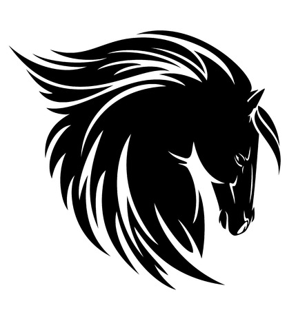 Black horse profile head with long mane vector design