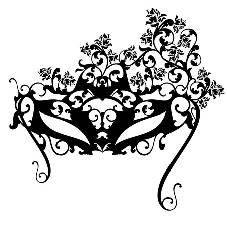 Carnival mask with rose flowers for masquerade ball - black and white vector design Illustration