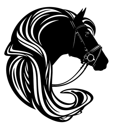 horse head with harness and long mane profile portrait - black and white vector design 일러스트