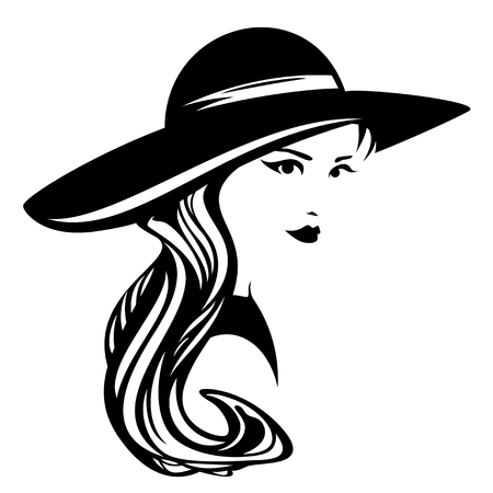 넓은 brimmed 모자 디자인 - 흑백 입고 우아한 여자 긴 머리를 가진 아름 다운 여자의 벡터 초상화