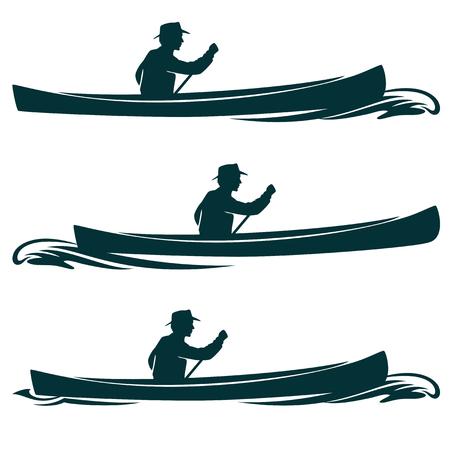 man in canoe boat side view vector design set
