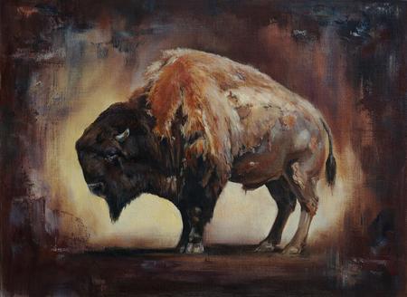 staande zijaanzicht bizon olieverfschilderij met canvas en verf textuur