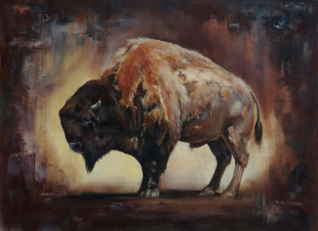 standing side view bison oil painting with canvas and paint texture