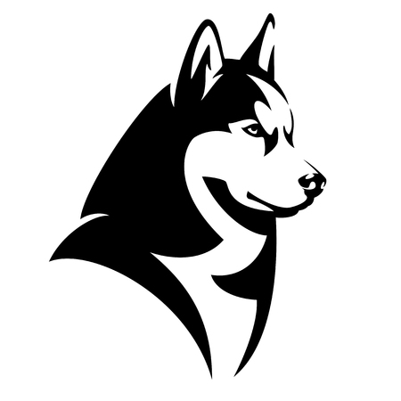 Husky dog black and white design - animal head side view vector illustration Stock Illustratie