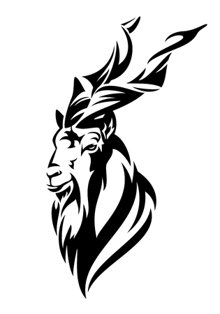 Mountain goat markhor (Capra falconeri)  head black and white vector design