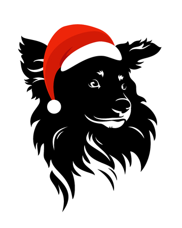 Cute dog head wearing santa hat - christmas time puppy vector portrait