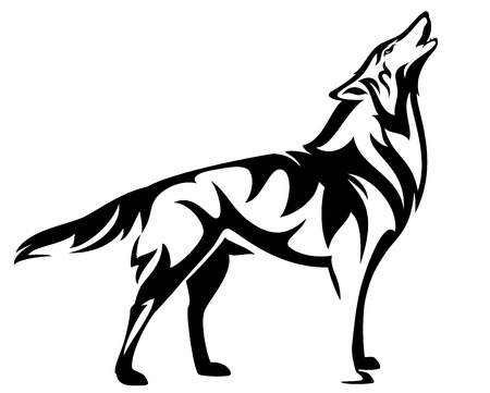 Standing howling wolf, black and white vector design