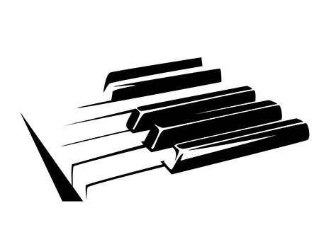Piano keyboard simple black and white, vector illustration. Ilustração