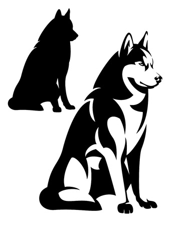 sitting husky dog simple black and white design - vector outline and silhouette Illustration