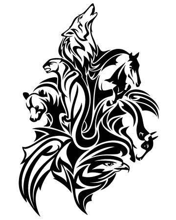wild animals spirits united - wildlife black and white tribal style vector design