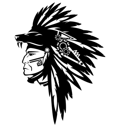 Tribe chief warrior wearing feather headdress with wolf head - black and white vector design