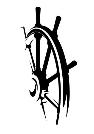 Ship helm design black and white steering wheel vector illustration.