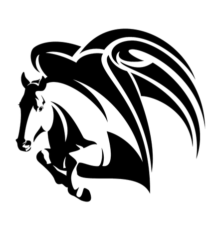 jumping Pegasus winged horse black and white vector design
