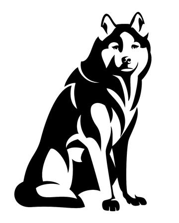 Sentado cão husky preto e branco vector design