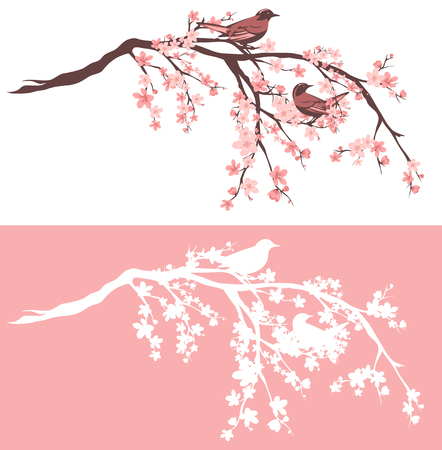 Birds sitting on blooming Sakura tree branches - outline and silhouette vector design set Çizim