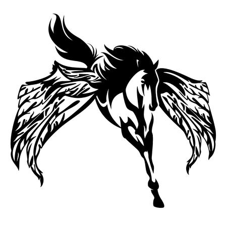 winged horse black and white vector design - flying pegasus illustration
