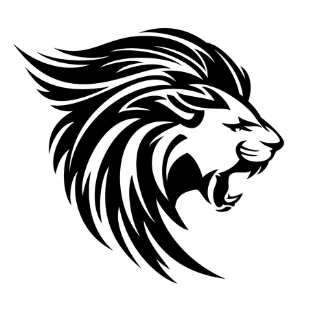 Roaring lion profile portrait, side view animal head black and white vector design.