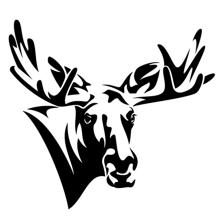 Moose head front view, black and white vector design.