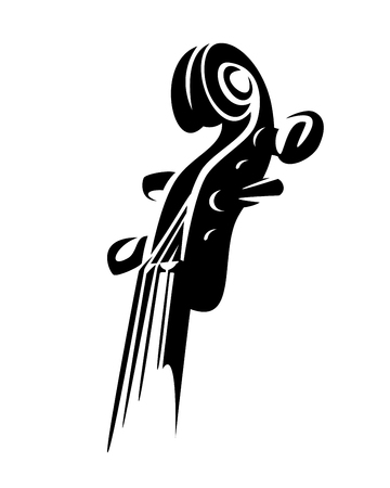 violin neck and pegbox - musical instrument black and white vector design