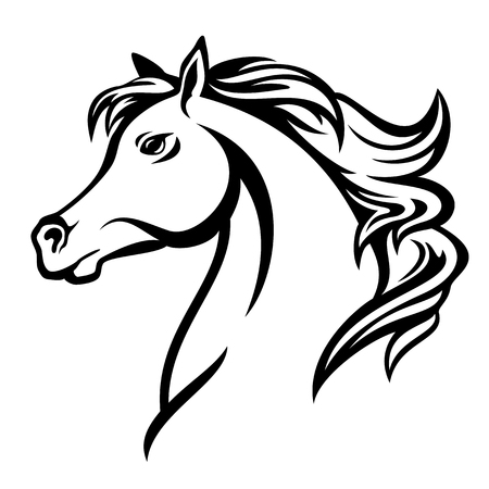 arabian horse profile head - black and white vector design Illustration