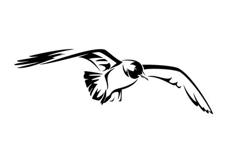 vliegende zeemeeuw zwart-wit vectorillustratie