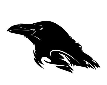 raven bird profile head black and white vector design Illustration