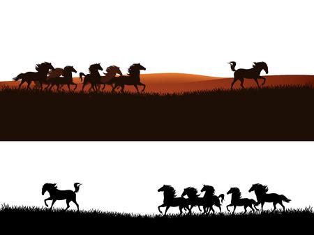 speeding mustang horses herd - wild west prairie scene vector border design