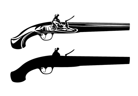 vintage flintlock pistol black and white vector design - antique gun outline and silhouette  イラスト・ベクター素材