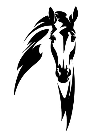 horse head front view black and white vector design Vector Illustration