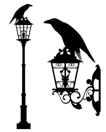 raven bird sitting on vintage street light - halloween theme black vector silhouette set 일러스트