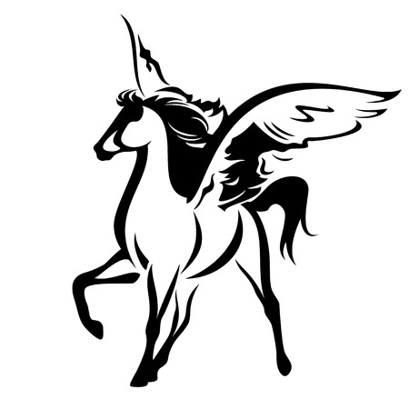 winged horse design - black and white pegasus vector outline