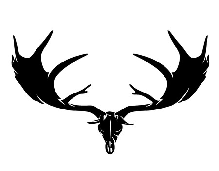 Irish elk (Megaloceros giganteus) or giant deer skull and antlers black vector silhouette
