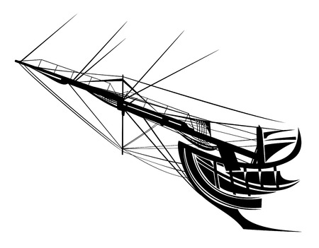 sail ship bowsprit rigging - side view black vector silhouette Illustration