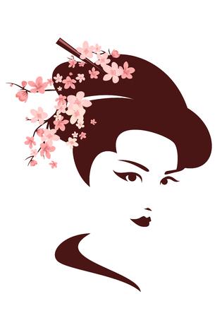 japanese geisha among cherry tree blossom vector portrait