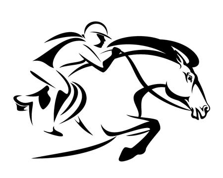 vrouw berijden van een paard - springconcours sport zwart-wit vector design
