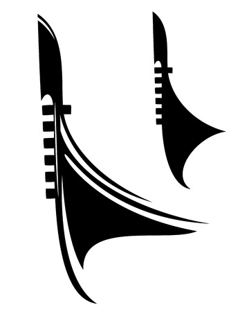 venetian gondola boat black vector outline and silhouette