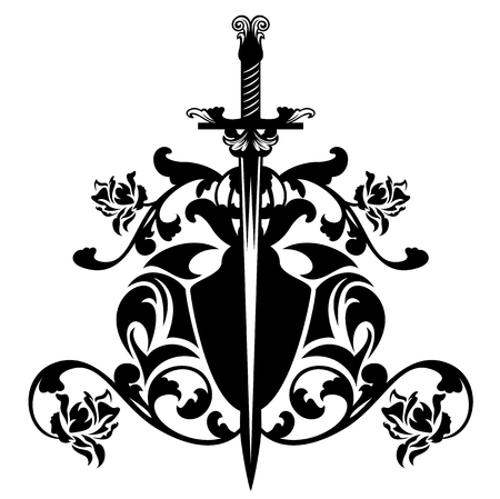 long sword among rose flowers - black and white vector heraldic emblem