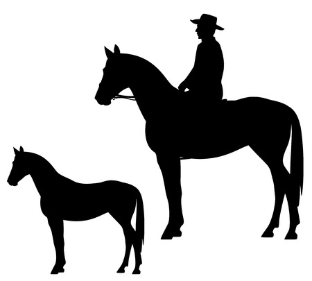 horseback cowboy and horse - wild west theme black vector silhouette Vectores