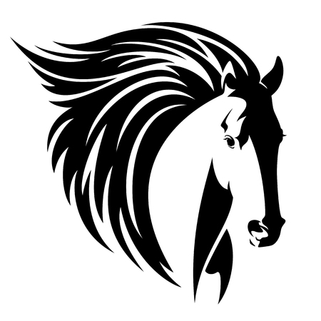 horse head with long flying mane - black and white vector design