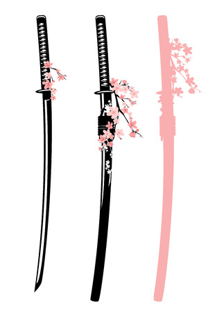 traditional japanese katana sword and blooming cherry tree branches vector design