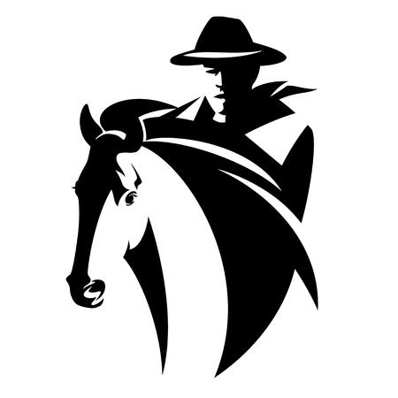 cowboy a cavallo - disegno vettoriale a tema selvaggio west in bianco e nero