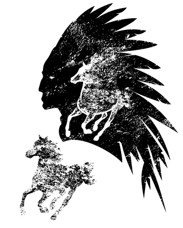 native american tribal chief and running mustang horse black and white silhouette vector design Vectores
