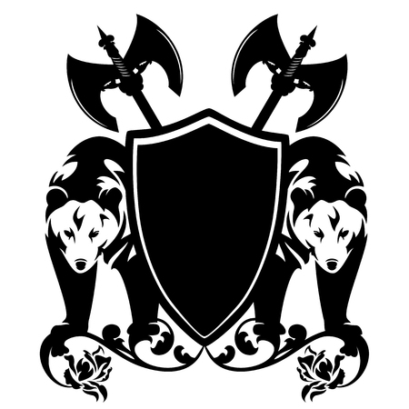 Bears guarding heraldic shield with axes and rose flowers - black and white vector design