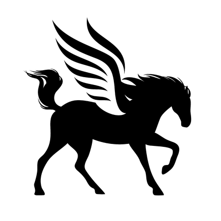 running winged horse silhouette - black and white vector pegasus design Illustration