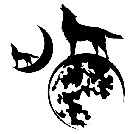 howling wolf standing on full and crescent moon - black vector silhouette design set