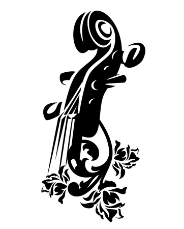 violin musical instrument among rose flowers - black and white vector design