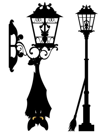 murciélago espeluznante colgando de la farola - conjunto de decoración de silueta de vector de vida de la ciudad de halloween Ilustración de vector