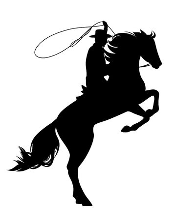 cowboy riding rearing up horse - wild west theme black vector silhouette