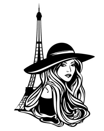 elegante donna parigina che indossa un cappello a tesa larga e la torre eiffel - disegno vettoriale in bianco e nero