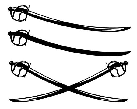 saber sword vector design - crossed blades and black silhouette outline set